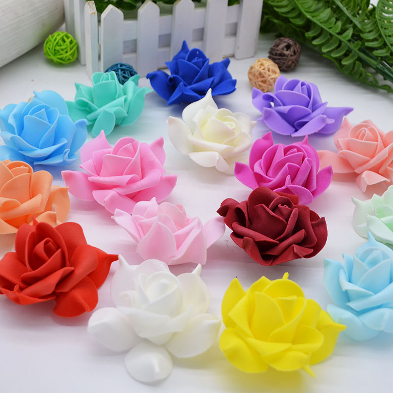 20pcs 8cm Big Rose Heads Artificial PE Foam Flowers Rosette for Wedding Decoration Bride Bouquet Bracelet DIY Handmade Craft
