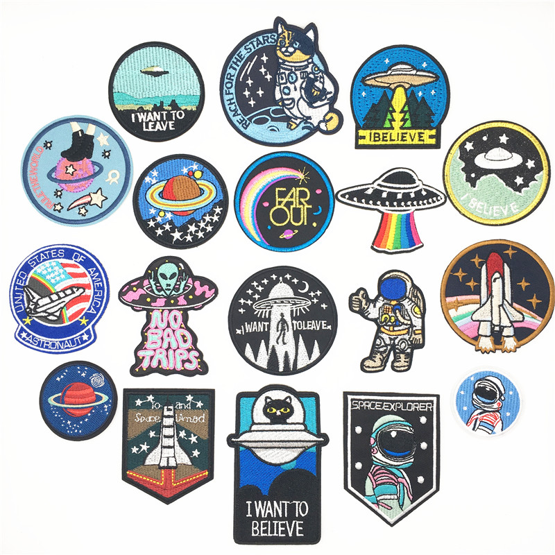 Rocket Spaceship Spacecraft Aircraft Space Shuttle Rocket Outer UFO Children Kids Cartoon Patch Applique for Clothes Great as Happy Birthday Gift