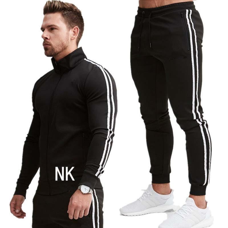 New Fashion Men Set Zipper Hoodies+Pants Sets Male Tracksuit Men/'s Casual Slim Fit Sportswear Male Brand Sweat Shirts Clothing