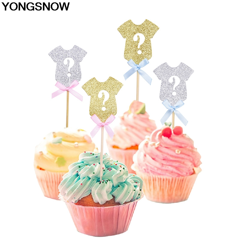 12/24pcs Gold Silver Cloth Shape Cake Topper Baby Shower Gender reveals cake inserts Cupcake Topper Supplies Party Cake Decor