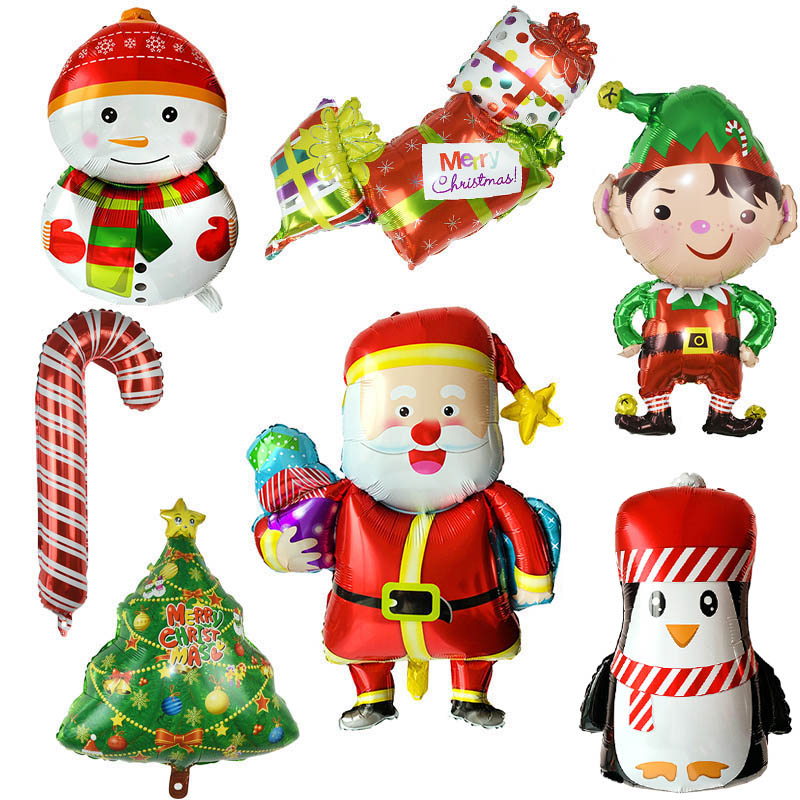 Large Smiling Santa Clause Snowman Foil Balloon for Christmas Home Decor 2019