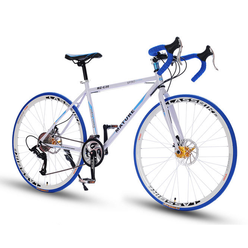 700C Aluminum road bike 21 27 30 speed bend double disc brakes sports bike student bicycle title=
