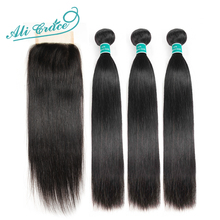 Hair Closure Ali-Grace Straight Brazilian with Middle 4--4 100%Remy Free-Part 2-Option