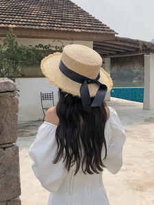 Ribbon-Cap Straw-Hat...