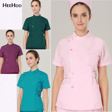 Top Shirt Scrub-Uniform Fabric Beauty-Care Fashion New Summer Short-Sleeve Slim-Fit Ms.