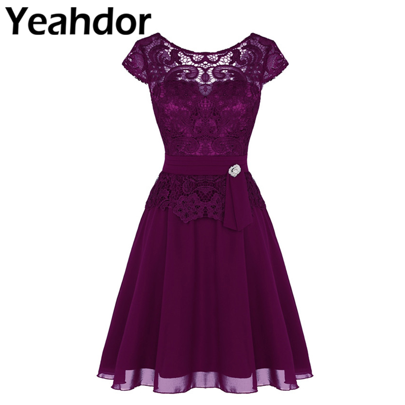Women Ladies Short Sleeves See-through Floral Lace Overlay Elegant Chiffon Cocktail Dresses For Wedding Birthday Party Prom