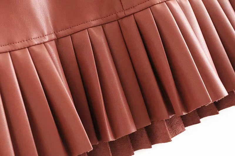 Stylish Chic Pu Leather Mini Skirt with Belt Za Fashion Women High Waist Pleated Hem Skirts Casual Streetwear Party Faldas 11