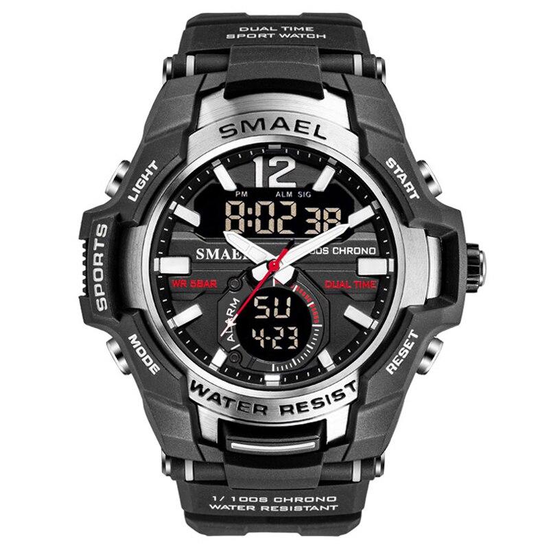 Мужские светодиодные часы SMAEL, черные спортивные часы, кварцевые часы с влагоустойчивостью до 50 мм, наручные цифровые часы, 2020
