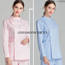 Scrub-Set Spa-Uniforms Dentist Women Workwear Long-Sleeve Clinic Cotton Winter Stand-Collar