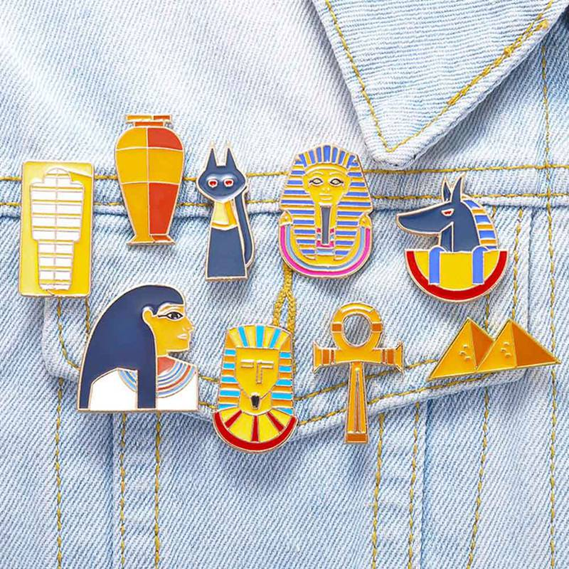 Enamel Brooch Set Creative Ancient Egypt Pyramid Pharaoh Funny Brooches Badges Lapel Pins Clothing Decor Gift Idea