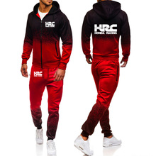 Unisex Men's hoodie HRC Race Motorcycle Spring Autumn Gradient Jacket High Quality Cotton Men's jacket hoodie+pants 2Pcs suit