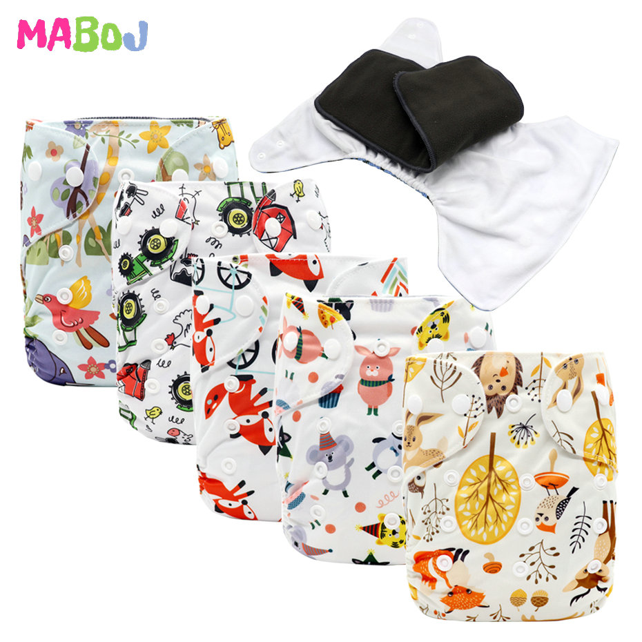 MABOJ Cloth Diapers Baby Pocket Diaper One Size Diapers Washable Reusable Nappy Nappies Cover Bamboo Charcoal Microfiber Insert