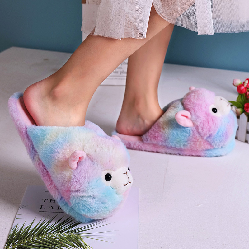 Home slippers for women Winter Cartoon Women Furry Slippers Cute Alpaca Pink Alpaca Parent-child Floor slippers cheap big size