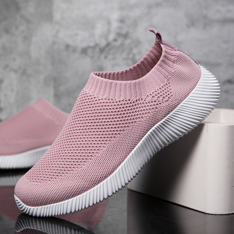 Women Shoes Super Light Sock Sneakers Female Slip-on Knitting Vulcanized Shoes Flats Loafers Fashion Ladies Trainers Big Size title=