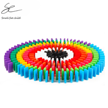 Color-Sort Wood-Domino-Blocks-Kits Dominoes-Games Educational-Toys Rainbow Children