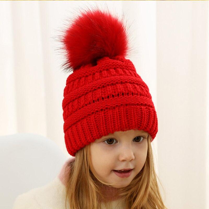 Super baby bobble hat winter warm  fur boys girls beanie cap Newborn 0-3 month