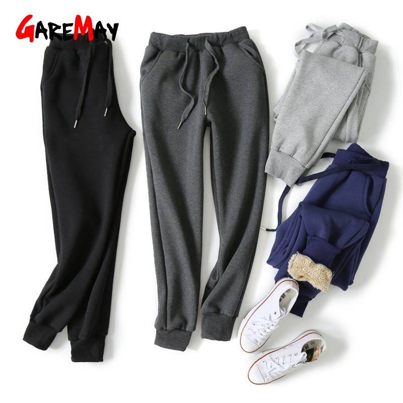 Winter Women Pants Warm Thick Fleece Sweatpants High Waist Plus Size Casual Velvet Winter Pants For Women Trousers Black 5XL