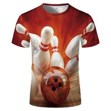 Men's T-Shirt Snooker Bowling-Billiards Hot-Selling Short-Sleeve Printing And 3D O-Neck