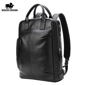 Мужской рюкзак BISON DENIM из натуральной кожи, водонепроницаемый рюкзак, модная школьная сумка 15,6 дюйма для подростков, Повседневная дорожная с...