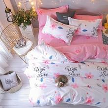 J Pink Flower 4pcs Girl Boy Kid Bed Cover Set Duvet Cover Adult Child Bed Sheets And Pillowcases Comforter Bedding Set 2TJ-61017(China)