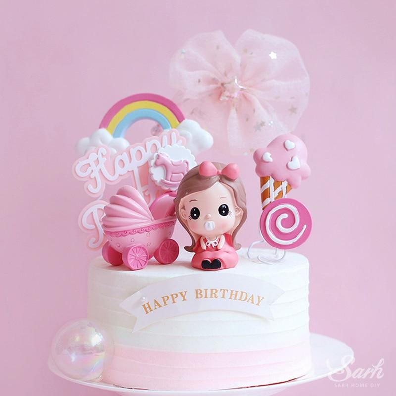 Resin Sleeping Black//Asian Baby Pink cake topper