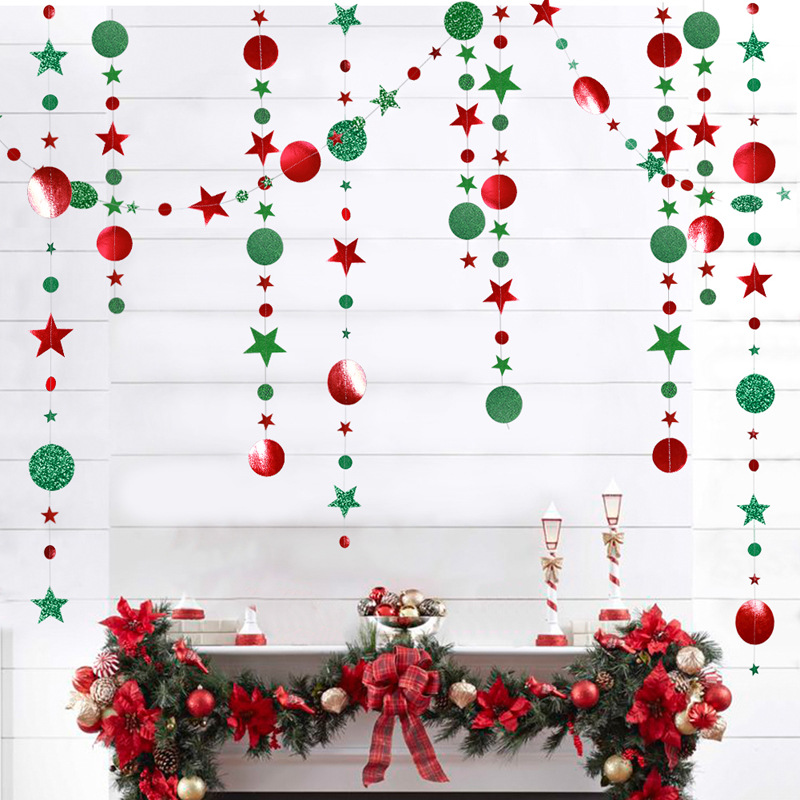 4M Red Green Glitter Mirror Surface Polka Dots Paper Garland Star Banner for Home Party Christmas Decoration Wedding Supplies
