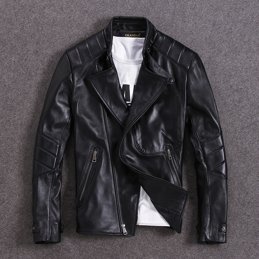 Free shipping.2020 classic style,Plus size soft sheepskin leather Jacket, men's genuine Leather jacket.man biker's slim coat