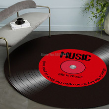 Bedroom Rug Carpets Floor-Mat Vinyl Record Music-Printed Soft-Fabric Round Home-Decor