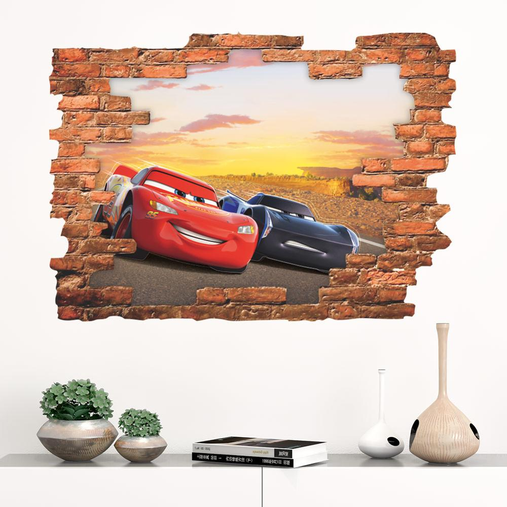 Cars,Sticker,Kids,3D,Lightening McQueen,Wall Art,Bedroom,Decal,Mural