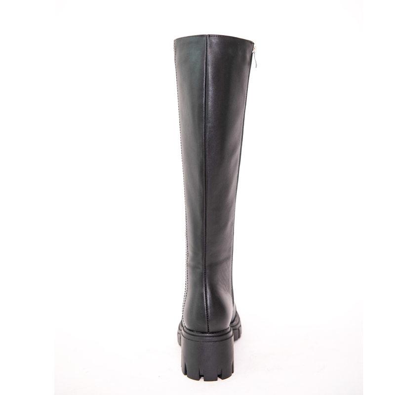 Leather Knee High Boots Women Autumn Winter High Square Heel Lady Platform Shoes G274 Woman Zipper Black Round Toe Sewing Boots
