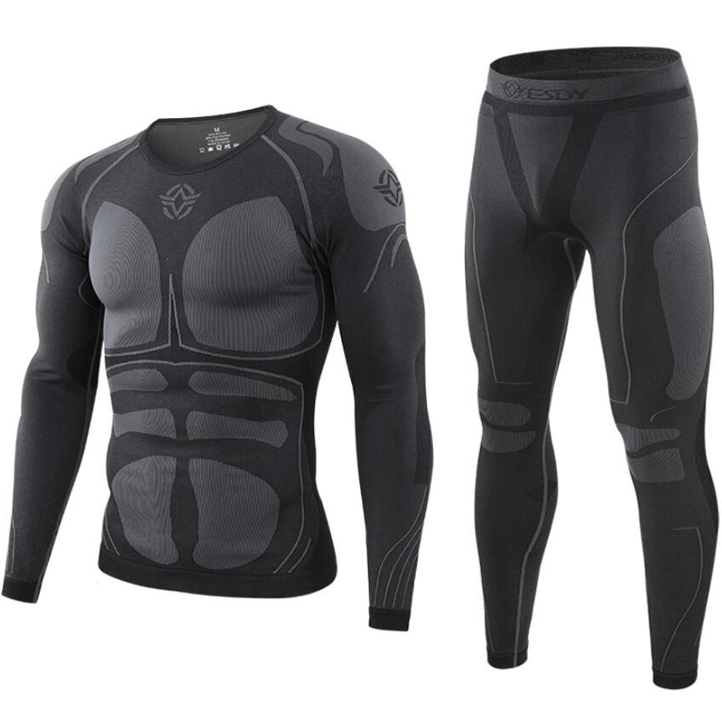 Underwear Tight Long-Johns Training Sports-Function Outdoor Breathable Tactical Men Seamless title=