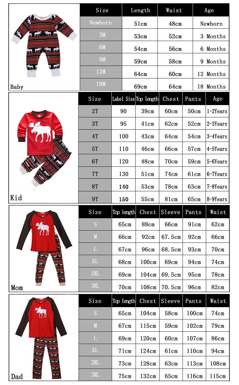 SZ family matching pajamas set daddy and mommy's size chart