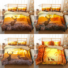 Boniu 3d Deer Pattern Bedclothes Bedding Set With Pillowcase Duvet Cover Animal Printing Bedspreads For Luxury Home Textiles(China)