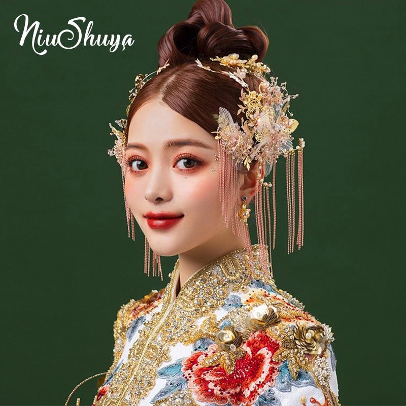 NiuShuya  New 2020 Chinese Traditional Silk Yarn Bridal Headpiece Costume Pink Hairpins Tassel Wedding Jewelry Hair Accessories