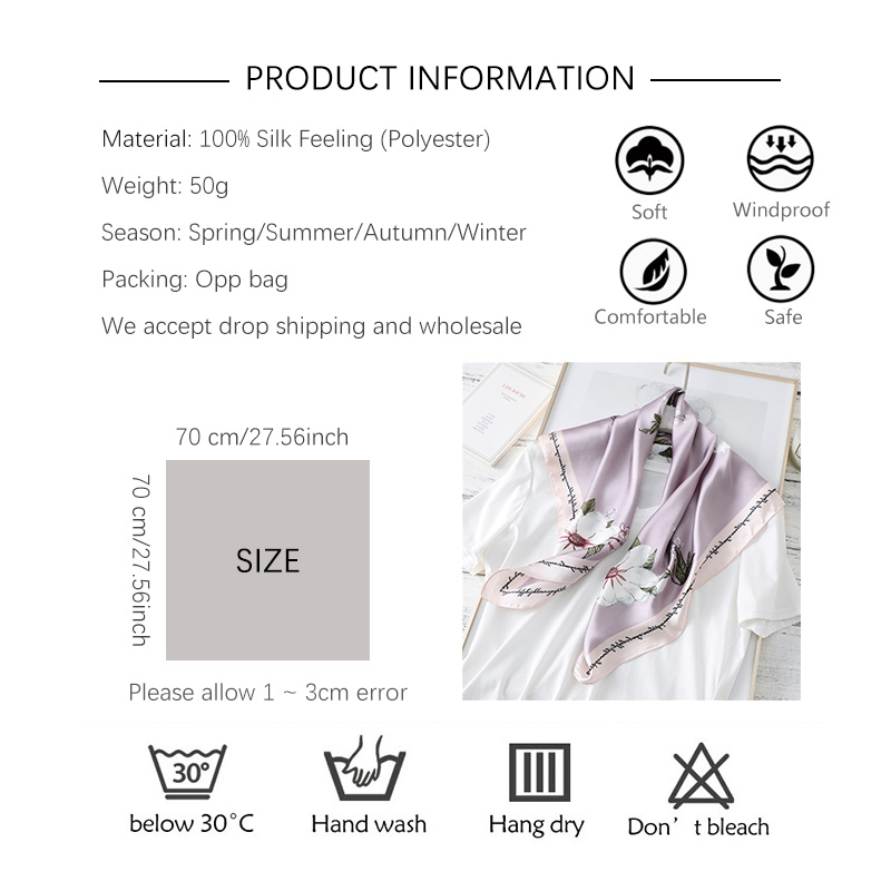 designer brand women scarf fashion 2020 flower print silk scarves square small Handkerchief office neck hair scarfs 70*70cm