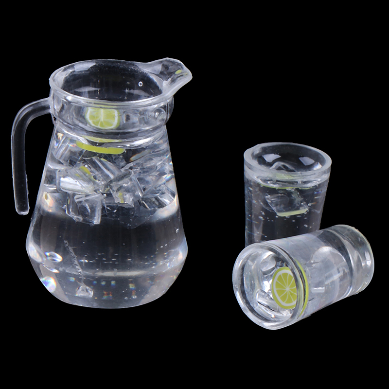 1/12 Mini Juice Jug Cup Set Simulation Drink Model Toys for Doll House Decoration Dollhouse Furniture Accessories
