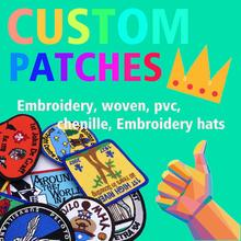Custom Embroidery personalized Patch your own logo brand hook iron on patch for clothing hat PVC woven chenille no minimum cheap