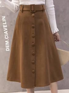 BELTED Skirt Button Office-Work Midi Elegant Autumn Long High-Waist Winter Faldas Mujer