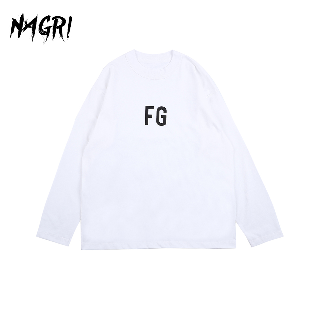 Hip Hop Long Sleeve T shirt Men FG Graphic Letter Printed Solid Color Loose Pullover Casual Tee Men's Streetwear T-shirts