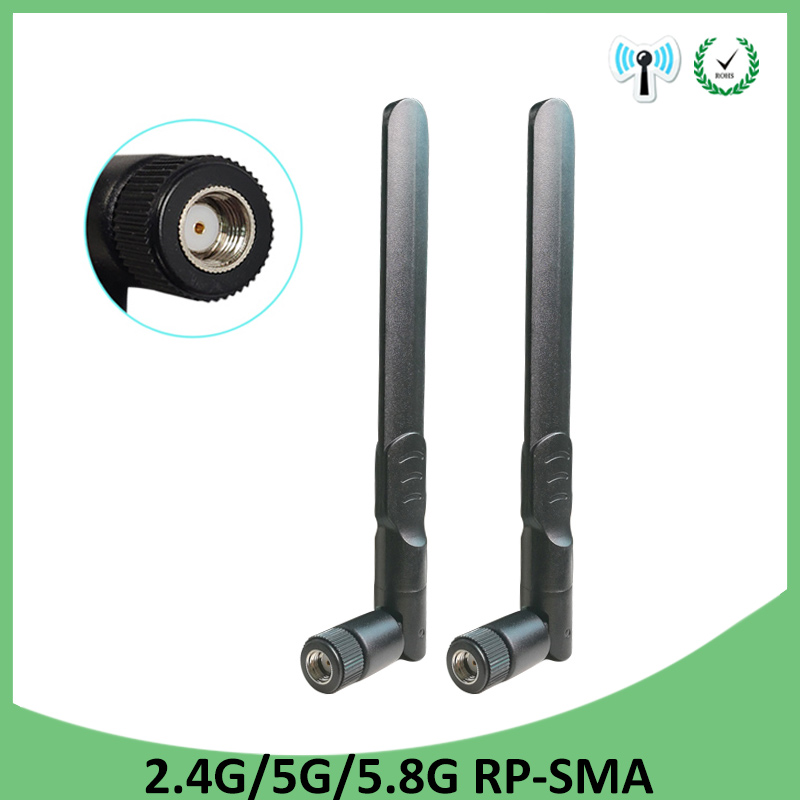 12cm Cable 2pcs 5dBi WiFi 2.4GHz Antenna Aerial RP-SMA Male Wireless Router