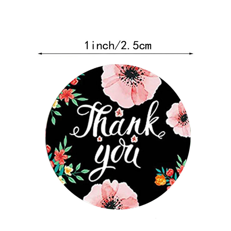 100-500pcs/roll Round Floral Thank You Stickers Scrapbooking For Package Seal Labels Custom Sticker Decoration Wedding Sticker