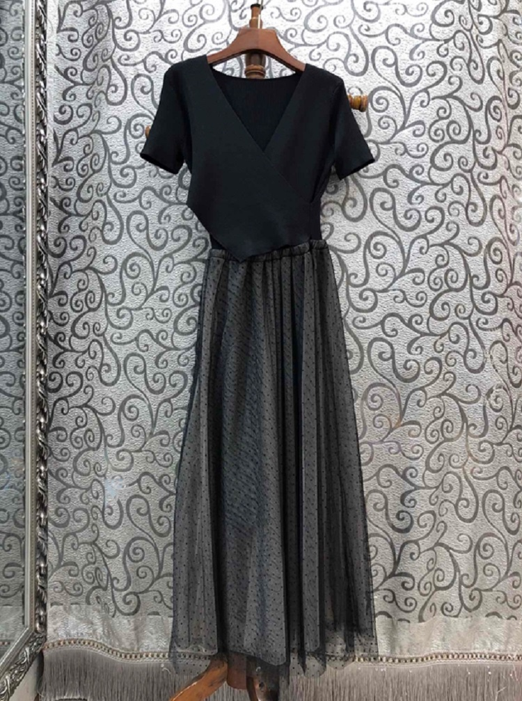 One Piece Dress 2020 Spring Summer Style Women V-Neck Knitted Sexy Tulle Mesh Patchwork Short Sleeve White Dark Blue Maxi Dress