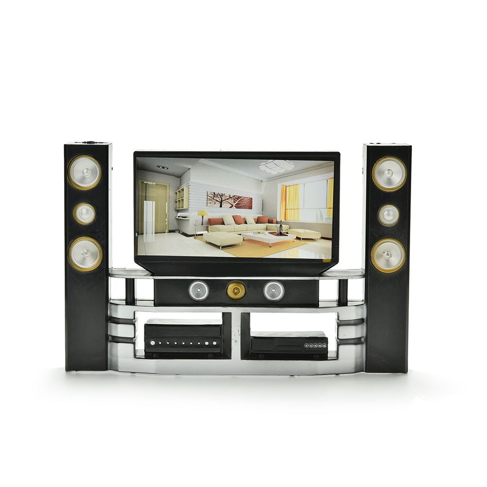 1:6 Scale Baby Toys Mini Hi-Fi TV Home Theater Cabinet Set Combo For Barbie Doll Clothes Dress Accessories House Furniture