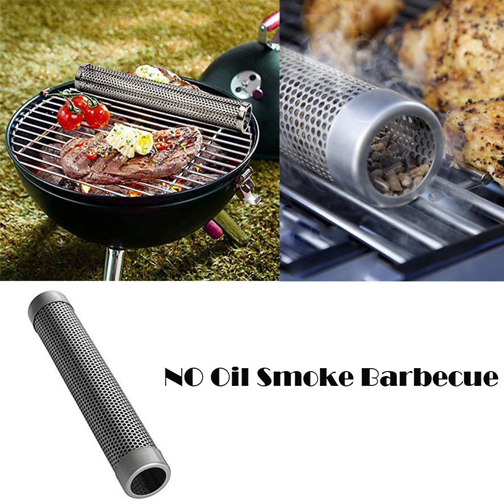 New Smoker Mesh Tube Smoke Box Charcoal Gas Grill BBQ Wood Chips Grilling Meat