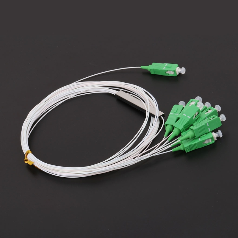 100 PCS/Lot PLC Optical Splitter SC APC 1m 1X8 FTTH Fiber Optic Splitter FBT Optical Coupler Singlemode Steel Pipe Free Ship