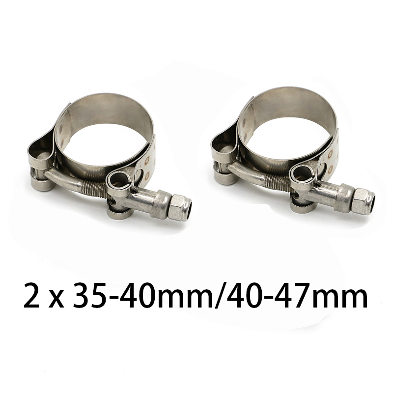 2Pcs Exhaust Pipe Connector Heavy Duty Sleeve Double Clamp Tube Adapter Joiner
