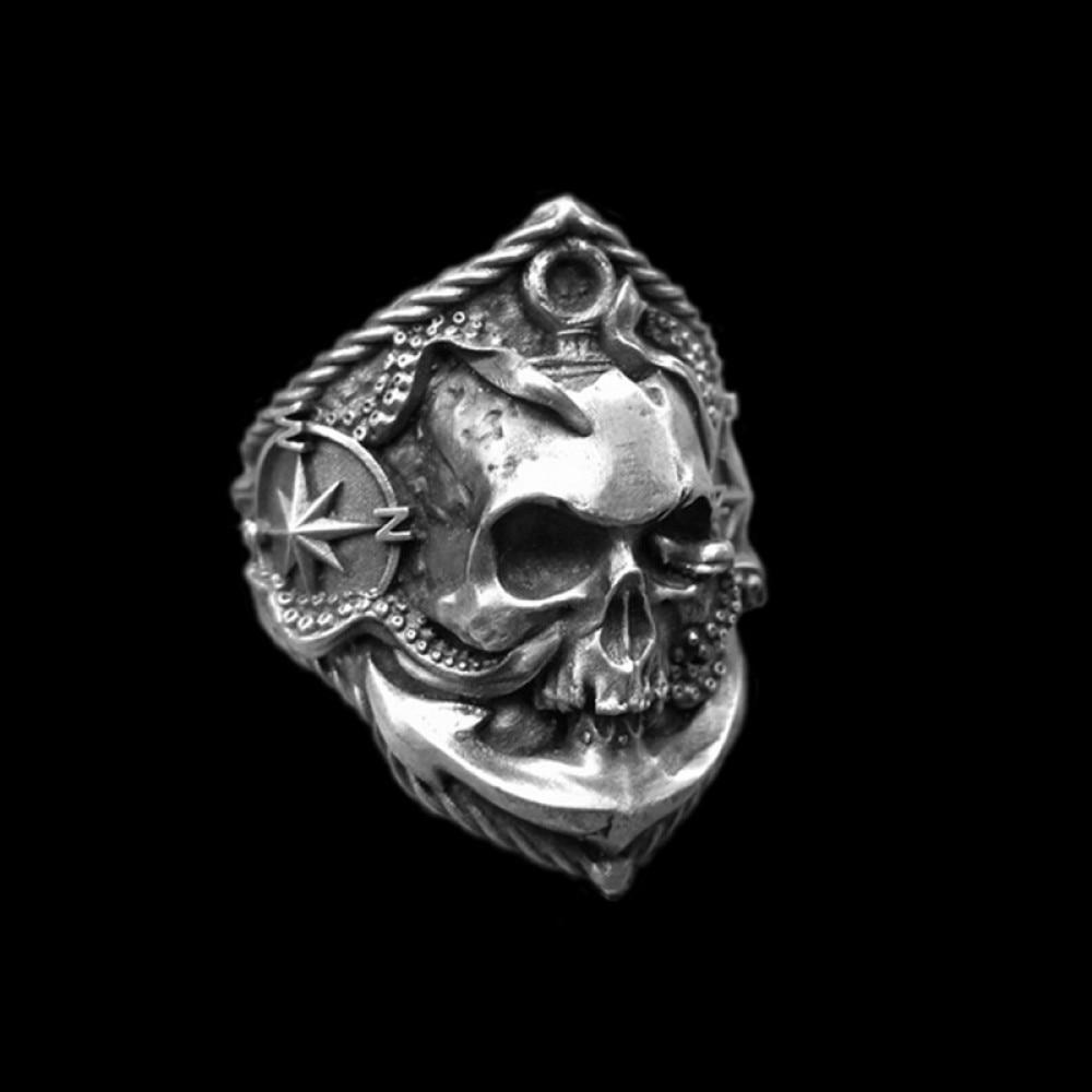 Bague chevalière acier inoxydable baphomet satan diable crâne skull mort biker