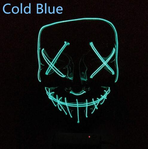 Halloween LED Light Mask Scary Smiling face Rave Purge Festival Clothes Cos M4P5