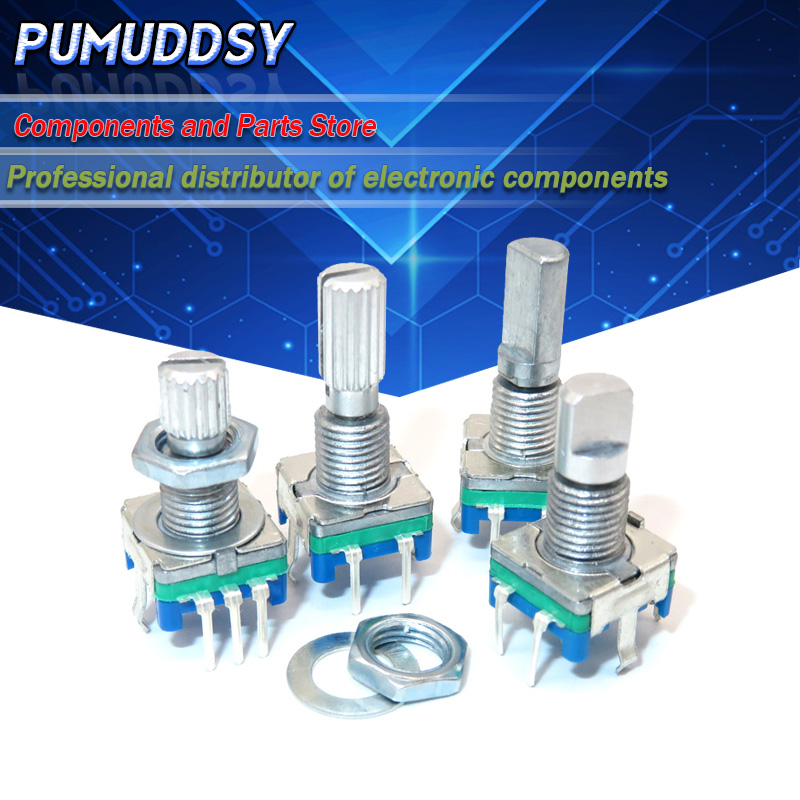 5PCS Half / Plum axis rotary encoder, handle length 15mm / 20mm code switch/EC11/ digital potentiometer with switch 5Pin