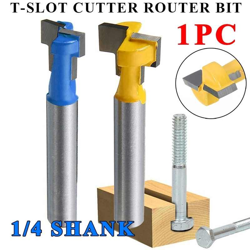 T-Slot Cutter 1//4*3//8 Shank Steel  Milling Router Bit For Woodworking Tools